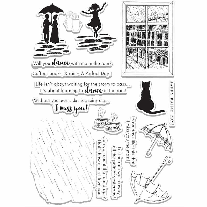 Dancing Girl Umbrella Couple Holding An Umbrella Cat Metal Cutting Dies and Clear Stamps Die Cuts for Card Making Fustelle Craft
