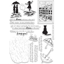Dancing Girl Umbrella Couple Holding An Cat Metal Cutting Dies and Clear Stamps Die Cuts for Card Making Fustelle Craft