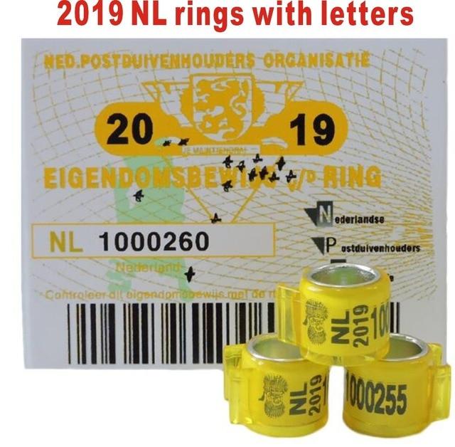 2019 NL gołębie pierścionki z literami karty ptak pierścień 8mm