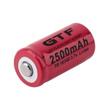 GTF 3.7V 2500mah 16340 Battery li-ion Rechargeable for Flashlight rechargeable Portable LED powerbank cr123a