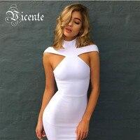 Free Shipping 2016 New Elegant Choker Straps Shoulder Design Celebrity Party Style HL Bandage Dress