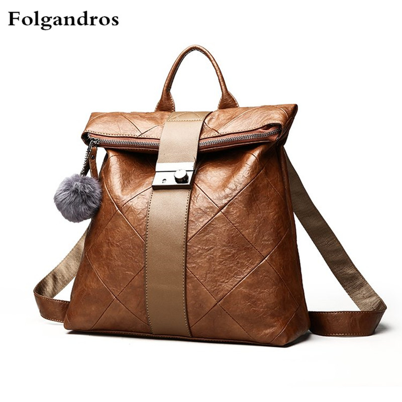 Anti-theft Women Multifunction Backpack Leather Shoulder Bag Large Capacity Backbag Female Zipper School Bag Girl Travel Bag Sac