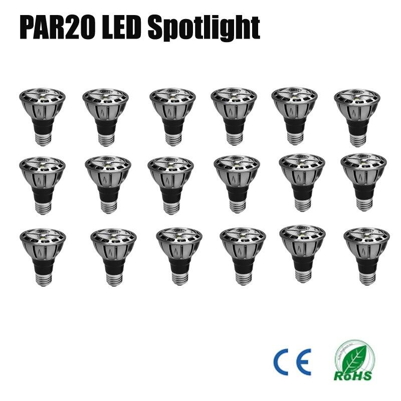 18pcs  lot par20 led dimmable 7w 110v 230v 240v umbrella lampada led par20 cob led energy saving