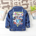 2017 Spring and summer selling children cowboy jacket 1-5 years old boys girl patch cotton cartoon printoutwear hole coat
