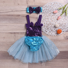 Baby Girl Mermaid Bikini Set Cute Lovely Bow Knot Tankini Sleeveless Halter 2PCS Set Bathing Suit Beachwear Swimwear Swimsuit