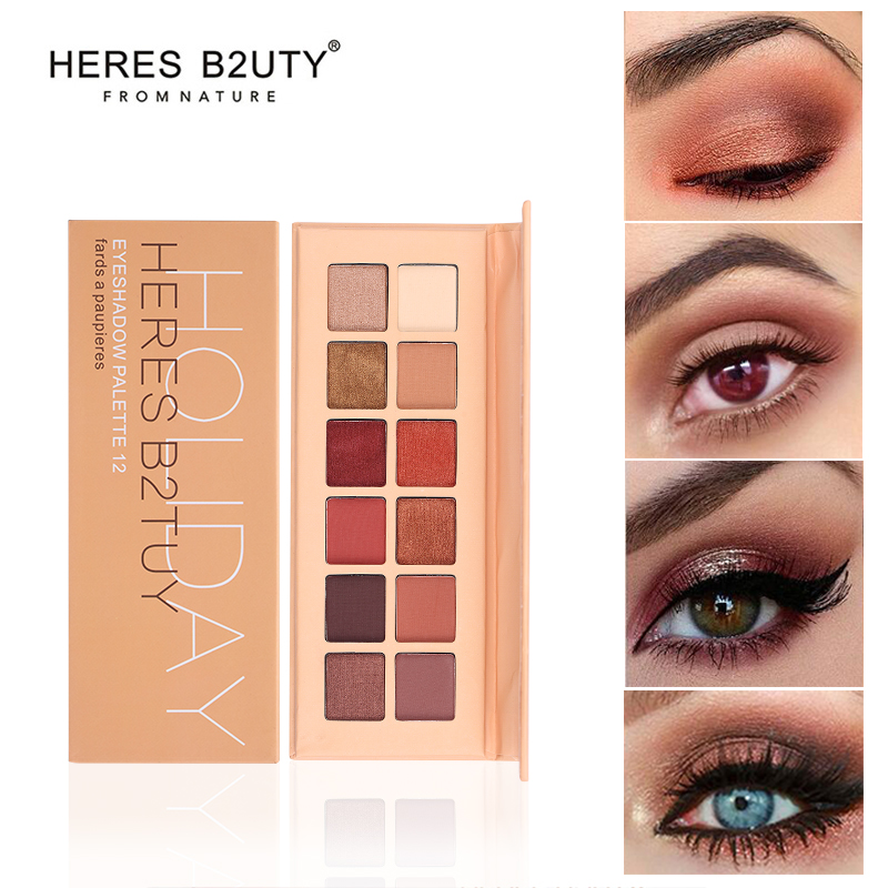 Eye Shadow Beauty & Health Heres B2uty Holiday Eyeshadow Palette 12 Color Palette Make Up Palette Pigmented Eye Shadow Matte Eyeshadow Shimmer Eyeshadow