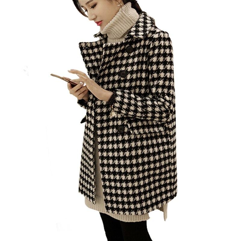 Womens houndstooth wool coat 2018 plus size winter spring Jackets Female slim medium-long wool women woolen outerwear coats