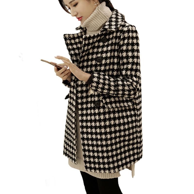 best authentic 11c07 f5a06 US $33.12 52% di SCONTO|Delle donne pied de poule di lana cappotto 2019  plus size inverno primavera Giubbotti Femminile sottile a medio lungo di  lana ...