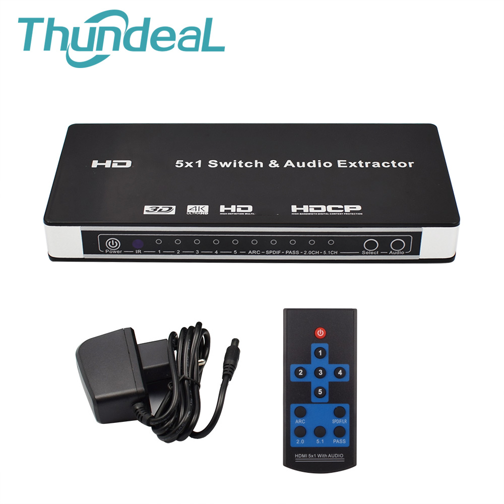 HDMI Switch 5x1 HDMI Audio Extractor Switcher 4Kx2K 3D ARC Audio EDID 7 1CH ADV 2CH