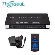 HDMI Switch 5×1 HDMI Audio Extractor Switcher 4Kx2K 3D ARC Audio EDID 7.1CH/ADV/2CH 5 Port HDMI Audio Extractor Switch Converter