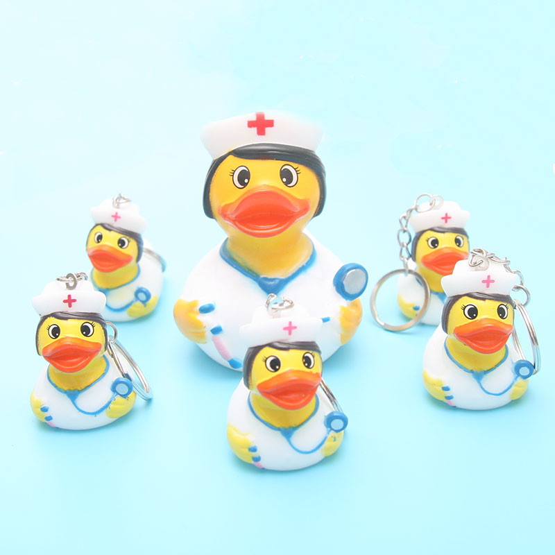 Bath Floating Toy Rubber Size Nurse Cute Shape Duck Toy Children's Bag Pendant Key Ring Pendant Duck Toy Kids Gift