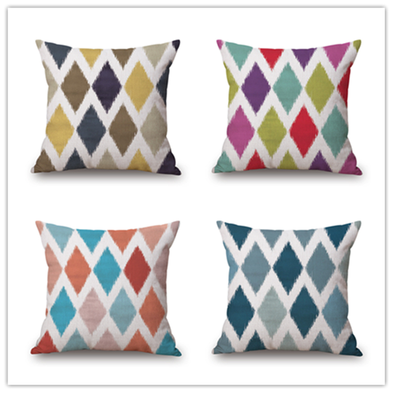fashion high quality national style gray red blue geometry grid car decorative throw pillow case cushion