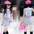 Children with girls summer new denim dresses package hip bull-puncher long in cuhk child sundress tu tu dress beach/party kids