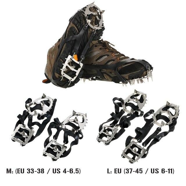 1 Paia 18 Denti Ramponi antiscivolo Scarpe Coprono Ghiaccio In Acciaio Inox  tacchetti Scarpe Boot Grip 07c6f64ee18