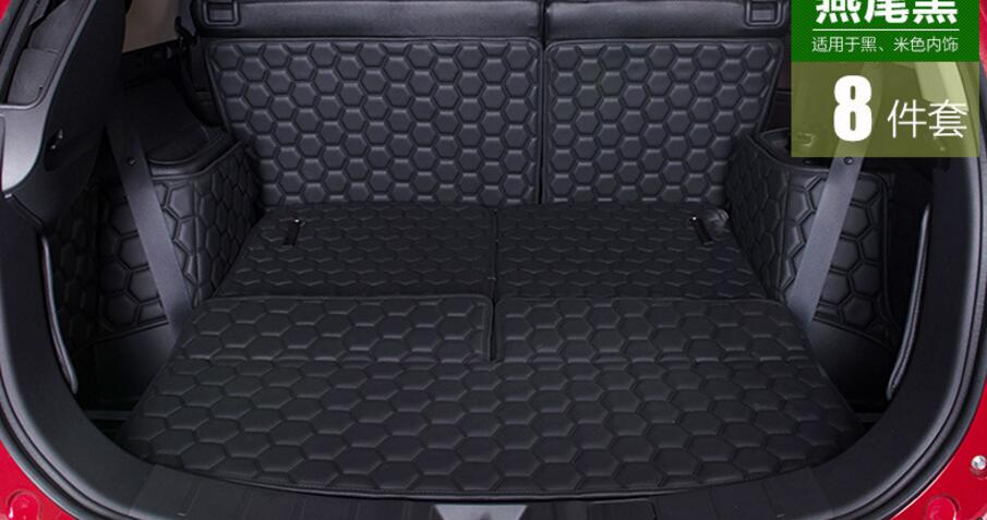 Black 8 Pcs Cargo Liner Car Trunk Mat For Mitsubishi Outlander 2016 7 Seats Carpet Interior Floor Mats Leather Pad Car-Styling 3d trunk mat for peugeot 508 waterproof car protector carpet auto floor mats keep clean interior accessories