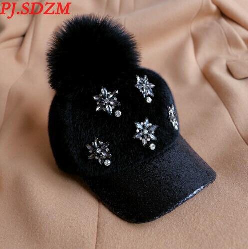 PJ.SDZM Female Winter Fashion   Baseball     Caps   Warm Hat Hair Bulb   Cap   Sequins and Diamond   Baseball     Caps