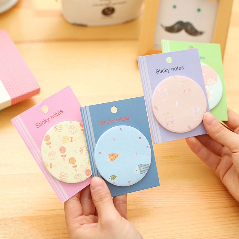 12pcs / Lot / Round Cartoon Fresh Round Stamp Sticky / N Times Posted Notes Message Notes Stickers Affixed Tear Scratchpad