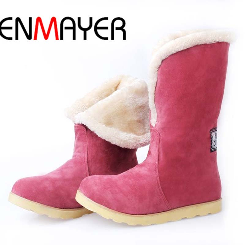ENMAYER 2016 New Warm Snow Boots Women Plush Winter Mid Calf Boots Fashion Wedding Shoes Brand
