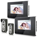 """Wired Video Door Phone Intercom 7""""Inch LCD Video Doorbell Camera System 2 Camera 2 Monitor For Apartment House Office"""