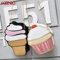 Womem Ice Cream Bag Cake Bag Pu Leather Cute Messenger Bags Candy Colours Small Size Female Chain Handbags 3d Laser Diamond Bag