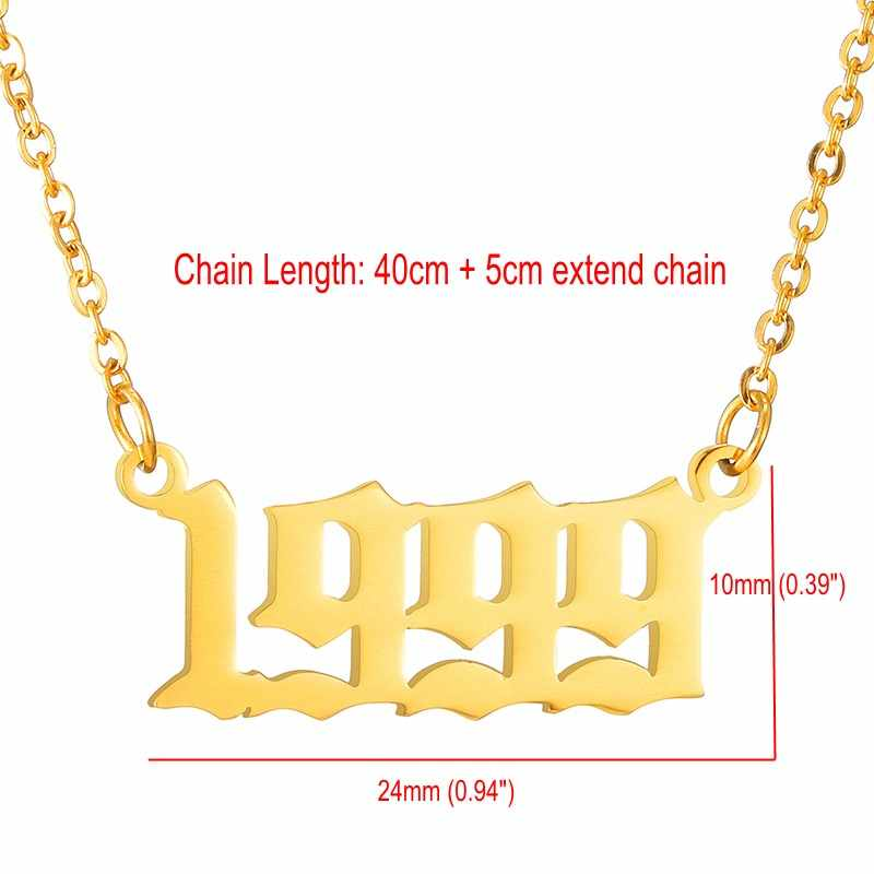 Personalized Old English Number Necklaces Custom Jewelry Year 1990 1991  1992 1993 1994 1995 1996 1997 1998 1999 Birthday Gift