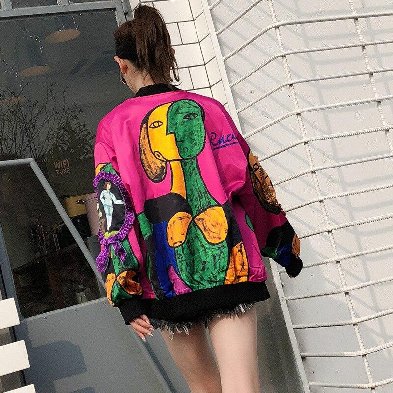 Printemps 2018 Bomber Lâche Manteau Lxunyi Vestes Manches Caractères Longues Rose Nouvelle Veste Mode À Femmes Imprimer Imprimé Multicolore Graffiti wx5aqYnT56