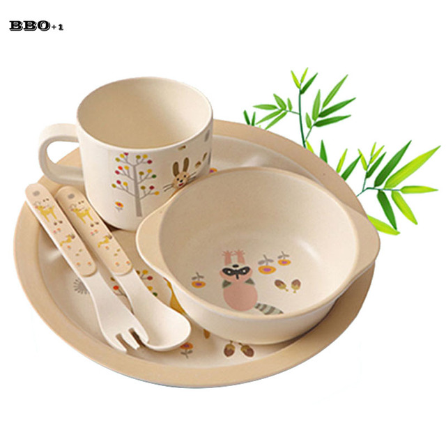 5pcs Cartoon Dinner Tableware Bamboo Fiber Children Dinnerware Set Baby Dishes Plate Cup Child Tableware Kids  sc 1 st  AliExpress.com & 5pcs Cartoon Dinner Tableware Bamboo Fiber Children Dinnerware Set ...