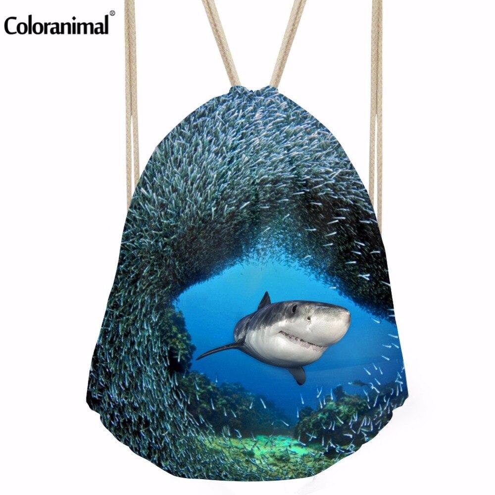 Coloranimal Fashion 3D Shark Fish Printing Backpack Mochila Feminina String Backpacks Women Men Daily Casual Drawstring Bag Girl