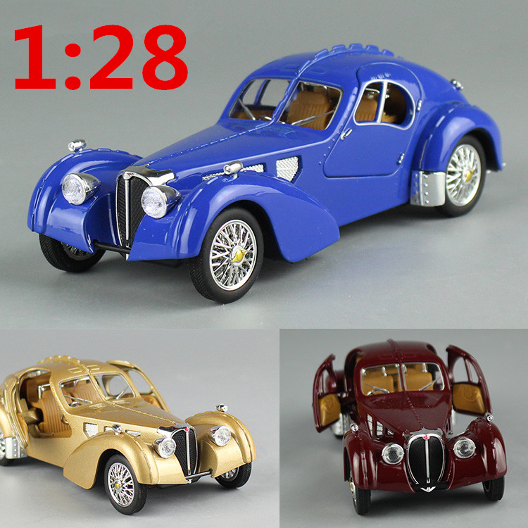 1:28 Light music Vintage car,Vintage Bugatti Roadster,Classic retro pull back model,Diecast metal cars toy,free shipping ...