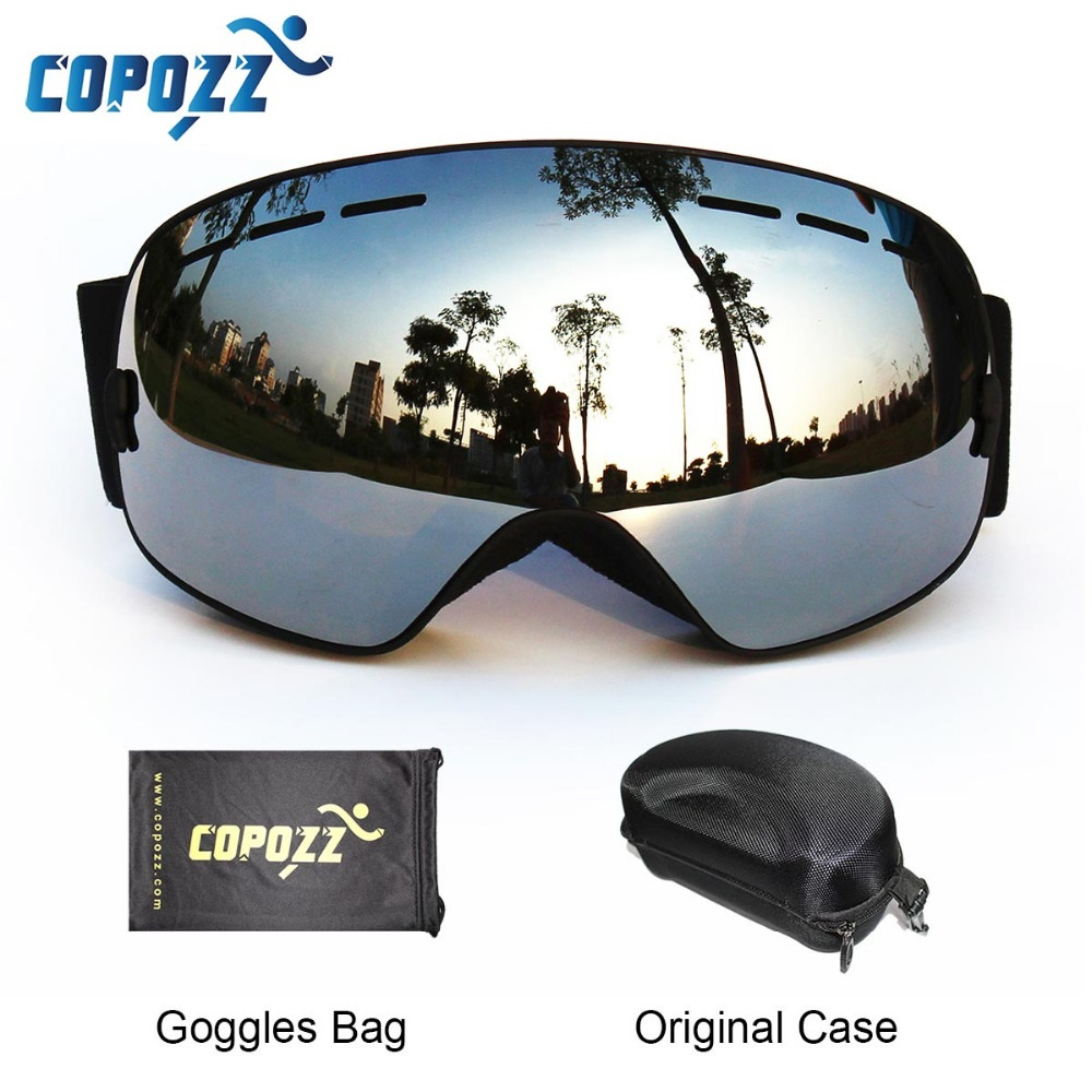 цена COPOZZ Ski Goggles with Box Case Ski Mask UV400 Anti-fog Snow Goggles Big Spherical Skiing Snowboarding for Women Men