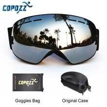 COPOZZ Ski Goggles with Box Case Ski Mask UV400 Anti fog Snow Goggles Big Spherical Skiing