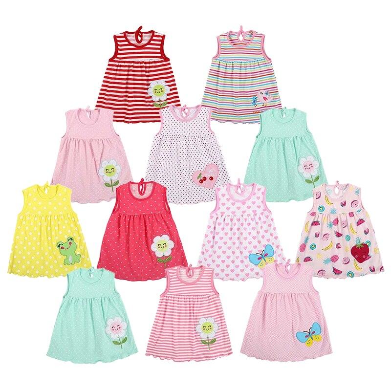 Newborn Baby Mimi Dress Girls O-neck Sleeveless Print Embroidered Cute Dress Girls Summer Beach Mini Dresses Baby Clothes