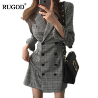 RUGOD 2018 Newest Women OL Slim Blazer Dress Female Notched Long Sleeve Plaid Business Dress Casual Long Office Work Outerwear