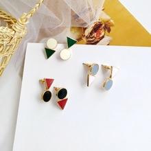 2019 Fashion New Earrings Round Triangle White Blue Red Yellow Enamel Asymmetry Woman Jewelry