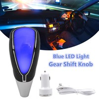 Universal Multi Color Blue Red White LED Light Gear Shift Knob Touch Activated Sensor USB Cigarette Charger