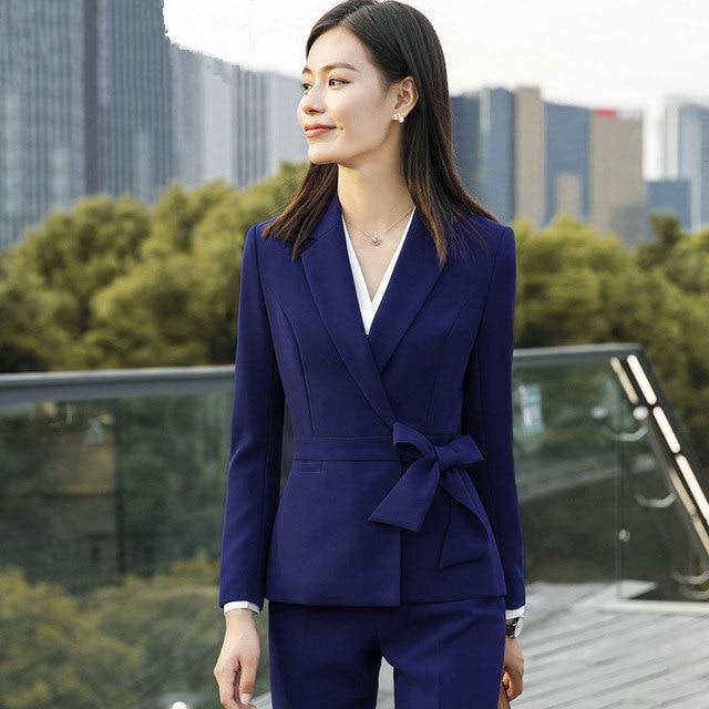 Women Trouser Suits Female Office Lady Formal Business Pant Suits Uniform Designs Style Work Wear Blazer and Pant 2 Pieces Sets