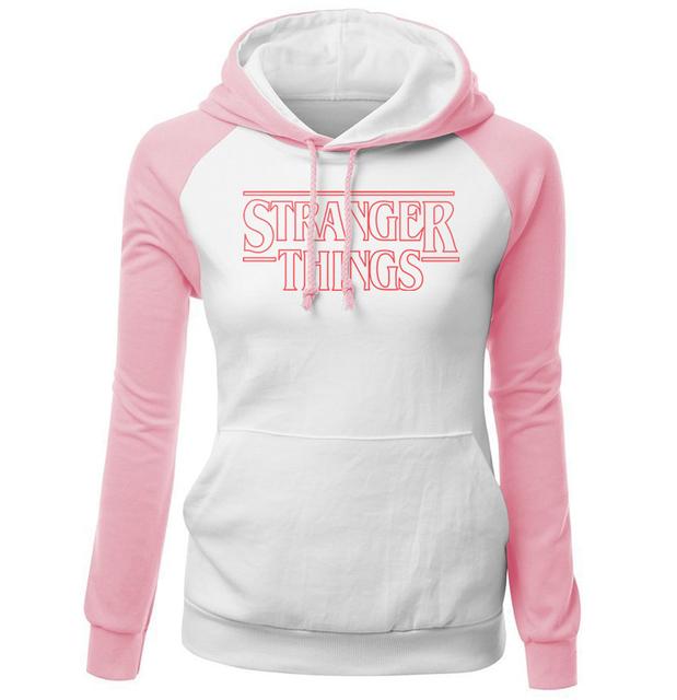STRANGER THINGS Print Hoodies 2018 New Arrival Brand Kawaii Pink Harajuku Streetwear Kpop Sweatshirt For Women Hoody Pullovers