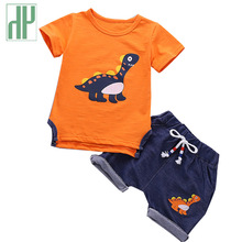 Kids Baby Boys summer clothes dinosaur animal costume Short Sleeve T-shit+Pants girl clothes Sport Suits toddler girl outfits недорого