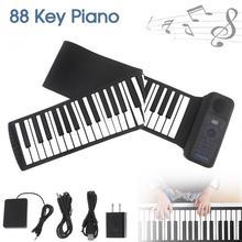 Портативный 88 клавиш USB MIDI рулонное пианино электронное пианино силиконовая Гибкая клавиатура орган встроенный динамик с сустейной педалью
