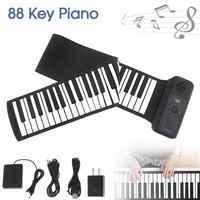 Portátil 88 teclas USB MIDI Roll Up Piano Electrónico Piano silicona teclado Flexible órgano altavoz incorporado con Pedal de apoyo