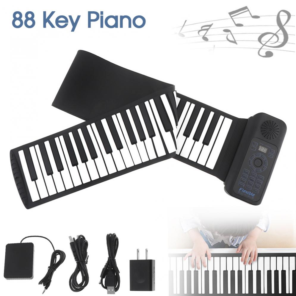 Portable 88 Keys USB MIDI Roll Up Piano Electronic Piano Silicone Flexible Keyboard Organ Built-in Speaker With Sustain Pedal