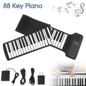 Portable 88 Keys USB MIDI Roll Up Piano Electronic Piano Silicone Flexible Keyboard Organ Built-in Speaker with Sustain Pedal(China)