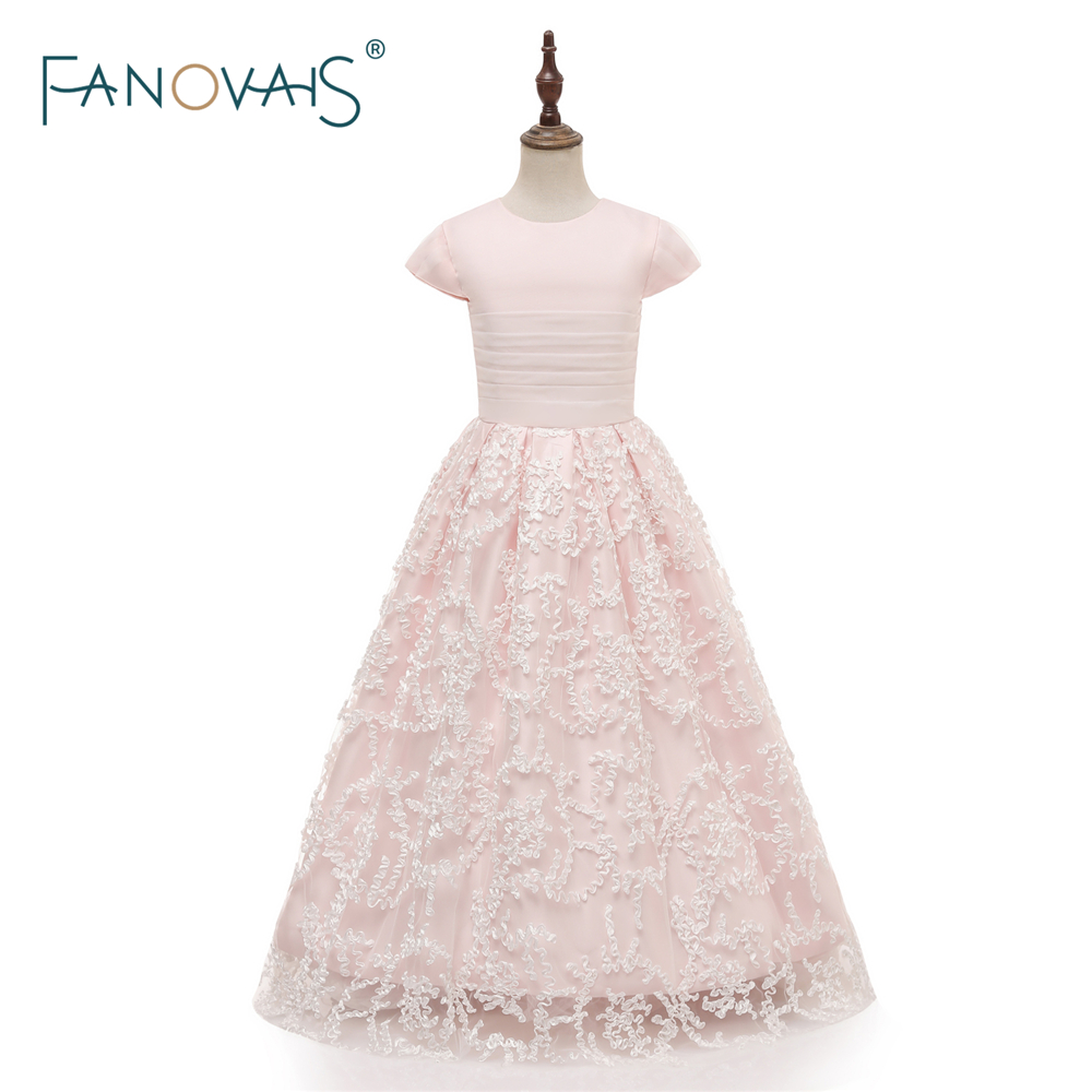 Pink   Flower     Girl     Dresses   2018 A-Line Ankle Length   Girl   Party   Dress   Wedding Communion   Dresses   For   Girls   vestido daminha FL3