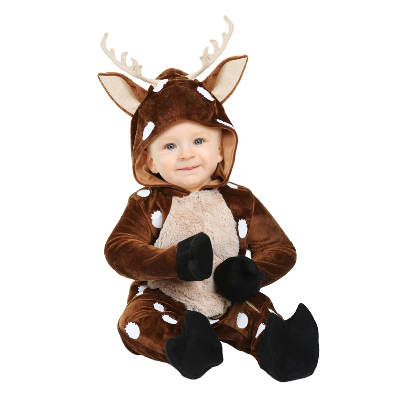 adorable baby deer infant halloween costume sweet fawn of the forest soft velvety made animal onesie size newborn to 18m - Where To Buy Infant Halloween Costumes