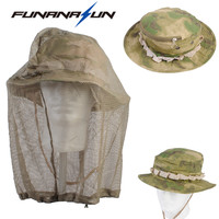 Unisex Bucket Boonie Hat Military Mosquito Net Fishing Hat Beekeeping Hat Flying Insects Prevention Cap with Mesh Cover