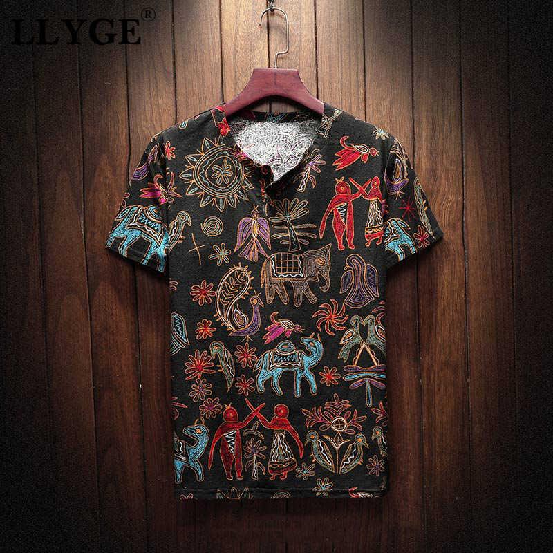 Тонкие цветочные хлопковые льняные летние мужские футболки с коротким рукавом мужские футболки с v-образным вырезом 2019 весенние китайские традиционные мужские уличные Топы