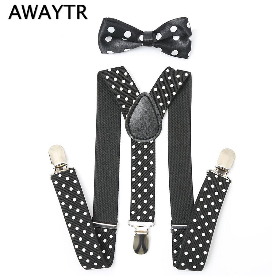AWAYTR Boy Bow Tie Suspenders New Cool Kids Black Dot Print 3 Clips Elastic Braces Set Korea Style Girls Trousers Suspenders