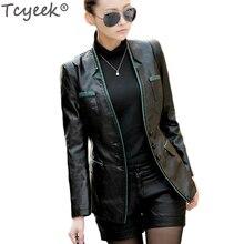 Tcyeek женская куртка из искусственной кожи,, осень, весна, Новое поступление, три кнопки, куртки, женские повседневные кожаные пальто WJF0005