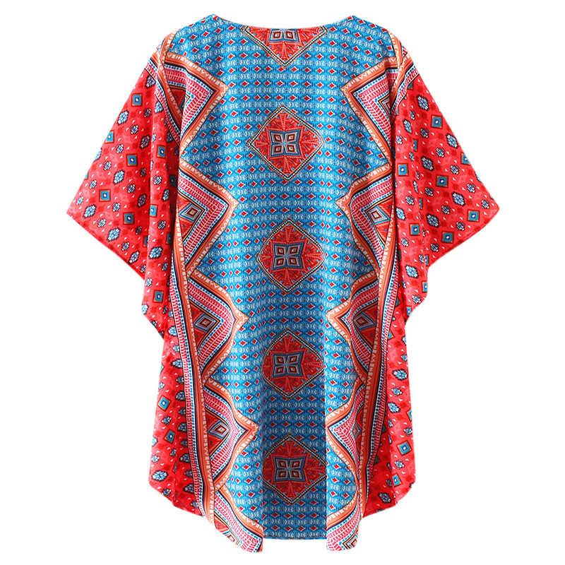 Женское мини-платье 2019 летнее винтажное платье этнический геометрический принт v-образный вырез рукав летучая мышь богемное повседневное свободное пляжное платье Синий