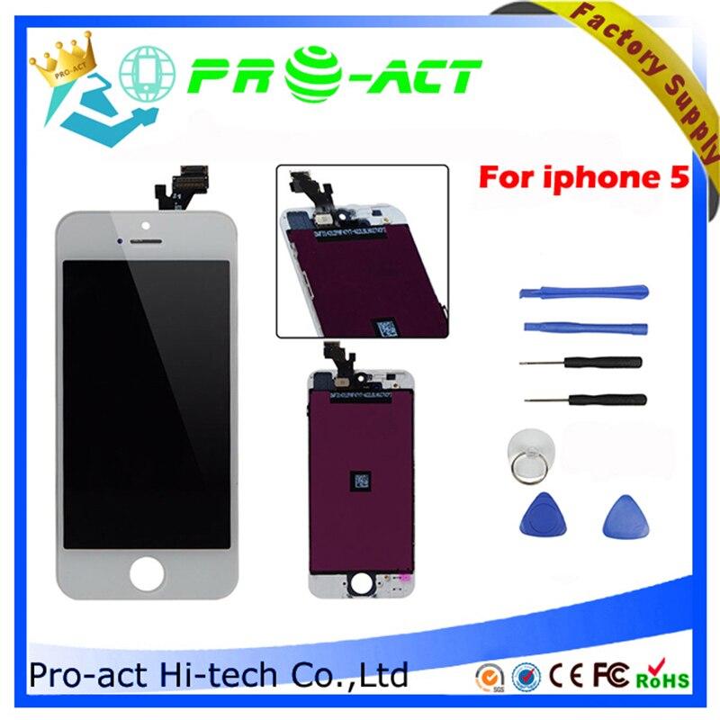 imágenes para 10 unids/lote Calidad AAA Precio de Fábrica LCD Para iphone 5 Pantalla Táctil Digitalizador Asamblea Reemplazo kits garantía de 180 días